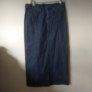 Eddie Bauer Denim Maxi Stretch Skirt 10 W33